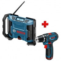 Akumulátorový vrtací šroubovák + aku rádio Bosch GSR 10,8-2-LI + GML 10,8 V-LI