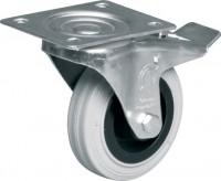 Kolo šedá guma otočné s brzdou, KNOB 160