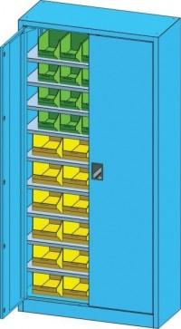 Skříň s křídlovými dveřmi UK1 a plastovými boxy, UK1-B21