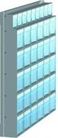 Stojan nástěnný s plast.uniboxy, 600x152x650 mm, 5 x uniboxů
