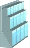 Stojan stolní s plast.uniboxy, 610x150x500 mm, 3 x uniboxy