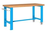 Stůl pracovní pojízdný, 1xpev. noha, 1xpojízd. noha, 1500 mm