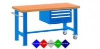 Stůl pracovní pojízdný, 2xstol.noha, 1xzásuvk.skříň 1250mm