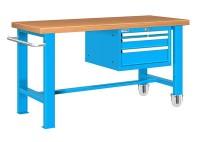 Stůl pracovní pojízdný, 2xstol.noha, 1xzásuvk.skříň 1500mm